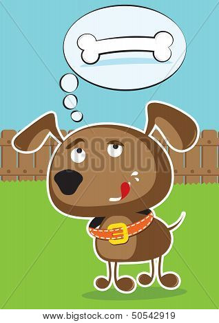 Vector funny cartoon dog.
