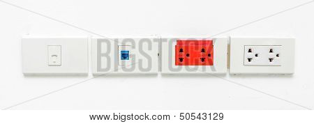 Lan Socket, Phone Socket And Electronic Socket  On White Wall