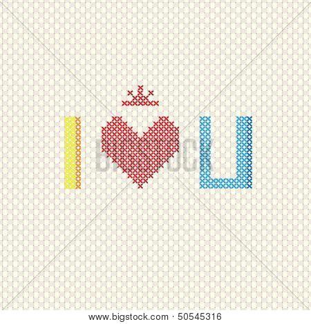 I Love You On Cross Stitch Style