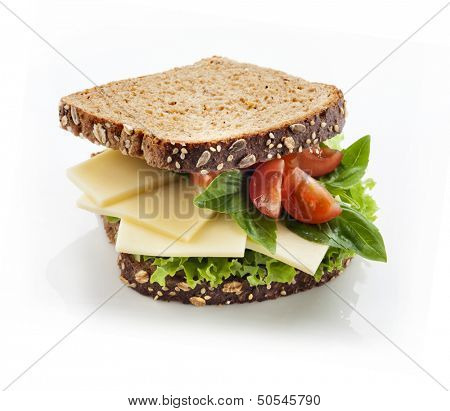 Tasty gourmet sandwich in whole grain bread