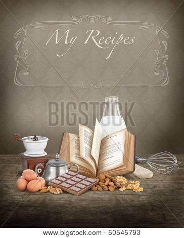 Baking ingredients with copy space, ideal for a cook book cover