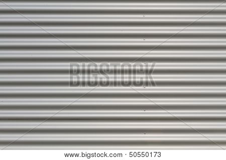 Silver Corrugated Metal On A Building