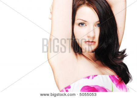 Beautiful Brunette Isolated On White