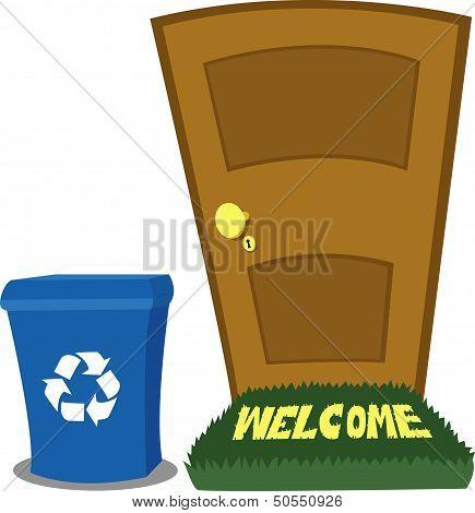 Door And Recycling Bin