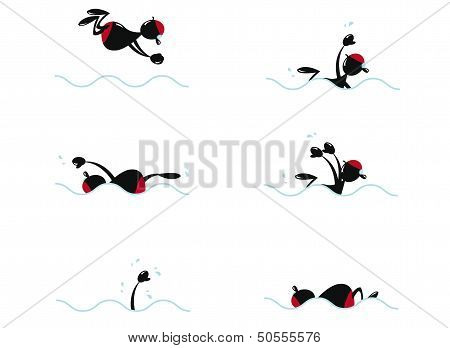 Funny Man Swimming