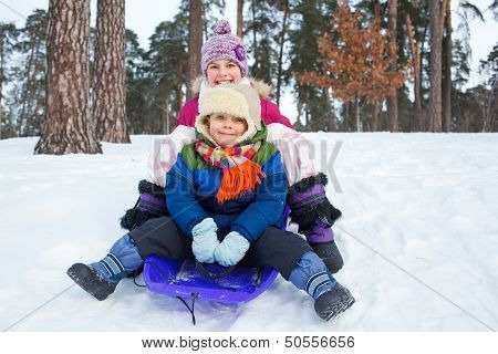 Children on sleds in snow