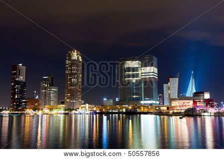 Rotterdam Skyline At Night