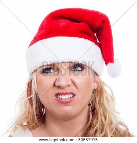 Disgusted Christmas Woman Face