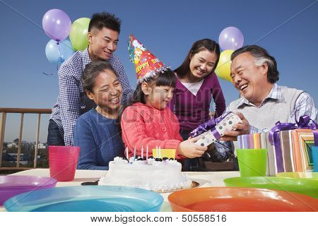 Birthday party, multi-generation family