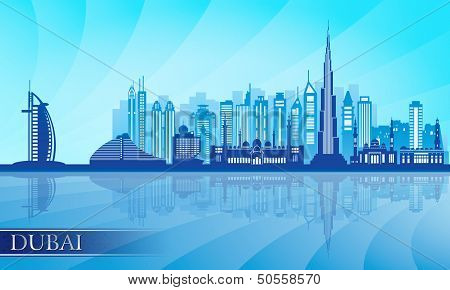 Dubai City Skyline Detailed Silhouette