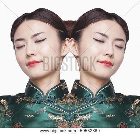 Young woman in Qipao Digital Composite