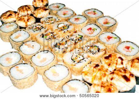 Many Hot Sushi And Sushi Rolls