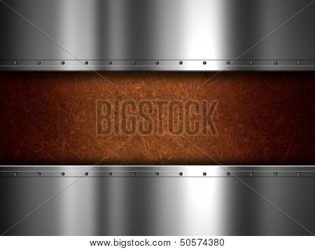 Shiny metal plate and grunge background