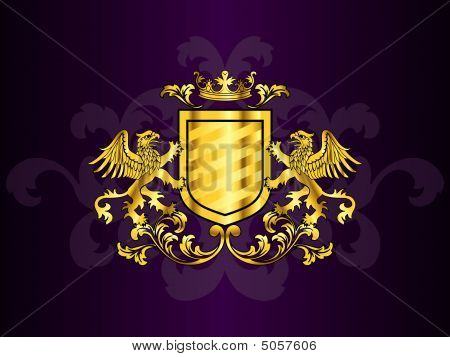 Golden Coat Of Arms With Griffins