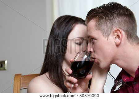 A Young Couple Drinking Wine
