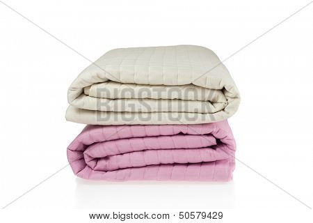 Pink and beige bed covers