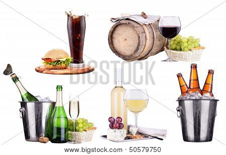 champagne, wine,beer,cola and food