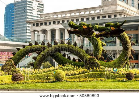 SHANGHAI - APRIL 7: dragons sculptured trees in pudong, city of Shanghai in China on april 7th, 2013. Pudong district, located along east side of Huangpu River, home of Shanghai's best known buildings