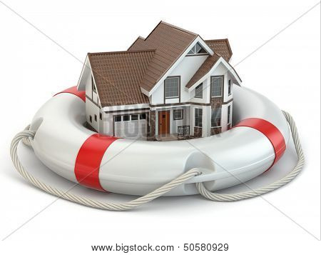 House in life belt. Conceptual image. 3d