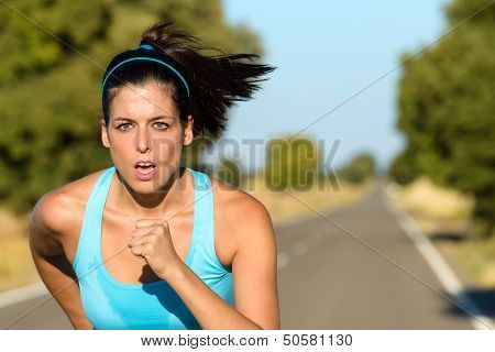 Sport Woman Running In Road