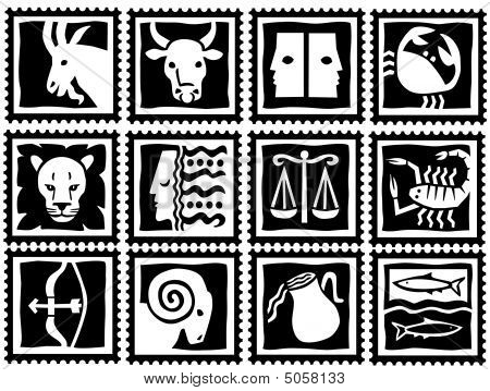White Stamps With Black Border And Black Signs Of The Zodiac