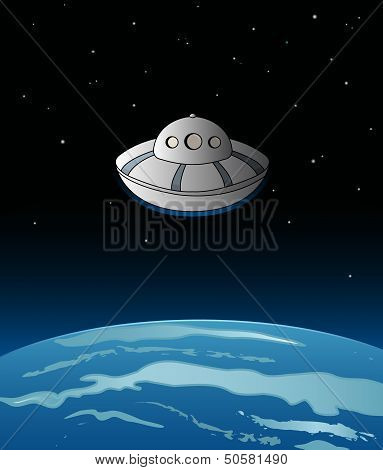 Alien spaceship over the earth.
