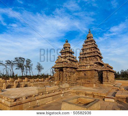Famous Tamil Nadu landmark - Shore temple, world  heritage site in  Mahabalipuram, Tamil Nadu, India