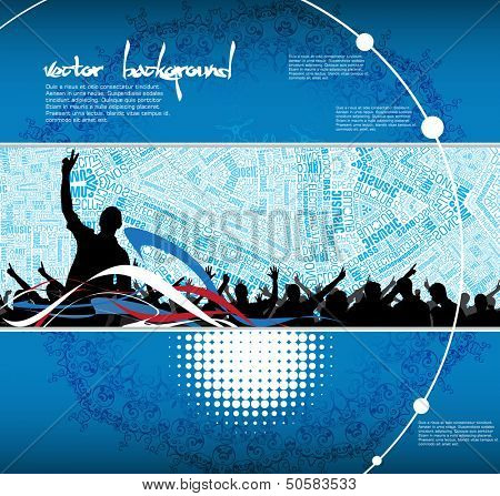 Dancing people. Concert crowd. Vector