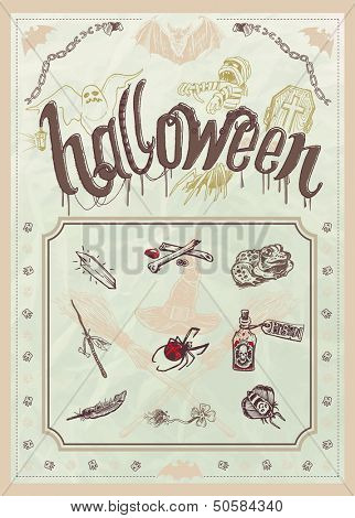 Blank Halloween party poster - editable