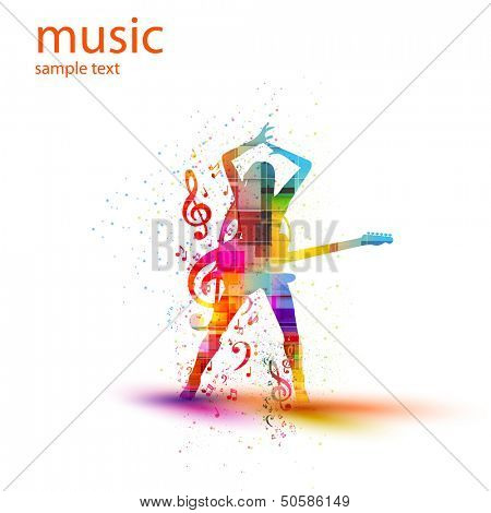 musical silhouette design, easy all editable