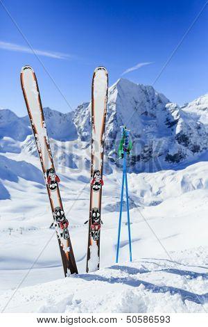 Ski, winter sport,  winter mountains - ski run in Italian Alps