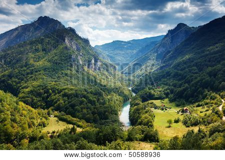 Fantastic view Tara river gorge - is the second biggest canyon in the world and the biggest one in Europe in the national park Durmitor in Montenegro. Balkans. Beauty world.