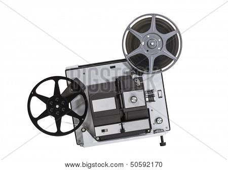 Vintage super 8 home movie film projector isolated with clipping path.
