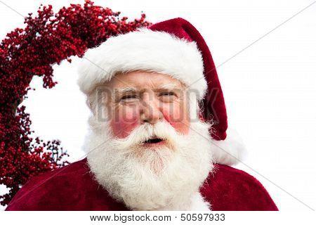 Happy Santa With Wreath