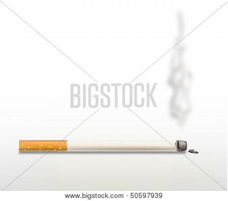 Smoking cigarette .