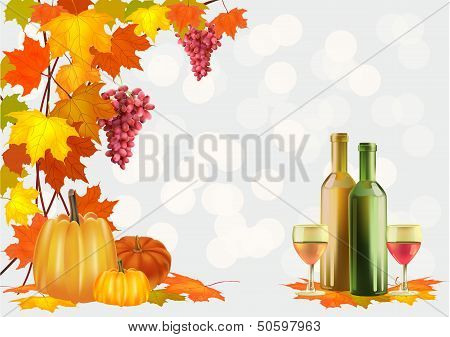 Autumn  Ripe grapes, wine glass and bottle wine