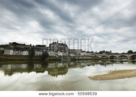 View of Chateau Amboise and Loire river