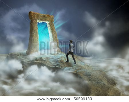 Ancient stone gate opening to another dimension. Digital illustration.