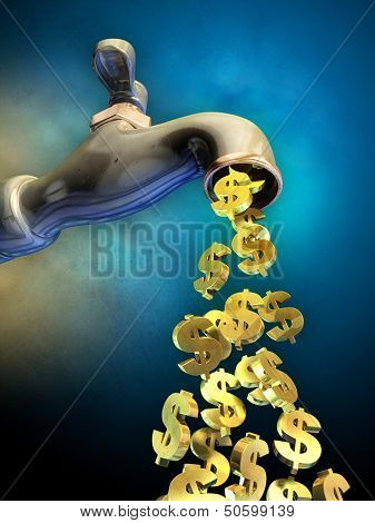 Dollar symbols flowing from an open faucet. Digital illustration.
