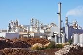 stock photo of smog  - Paper Factory against a summer blue sky - JPG