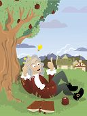 stock photo of newton  - a vector cartoon representing Sir Isaac Newton that is just having an idea - JPG