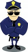 stock photo of bodyguard  - a vector cartoon representing a funny policeman isolated on white - JPG