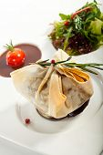 foto of beef wellington  - Beef Wellington Steak with Sauce and Vegetables - JPG