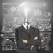 Vector Idea and concept, Lamp head business man in suit. All layers well organized and easy to edit