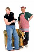image of fussy  - Middle aged pensive housewife with fussy eating teenager daughter - JPG