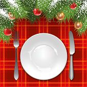 foto of christmas meal  - Christmas menu template with holiday decorations and tartan tablecloth - JPG