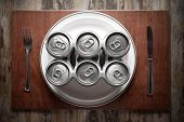 image of six pack  - Conceptual image representing alcoholism on a funny way using a six - JPG