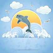 stock photo of sea cow  - Illustration of a Dolphin in the water - JPG