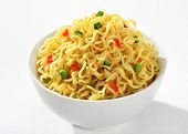 Bowl with cooked noodles