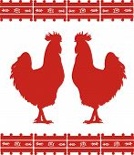 stock photo of fighting-rooster  - Two rooster silhouettes with Mexican ornament - JPG